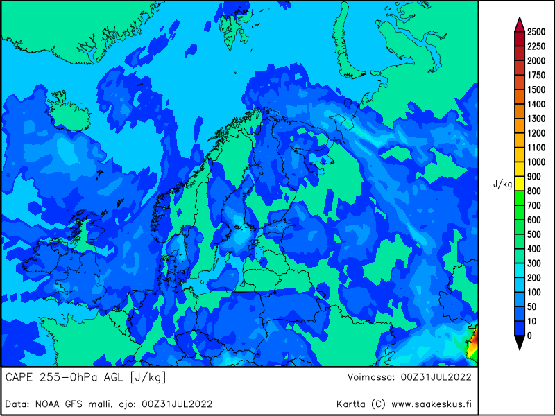 Nordic countries MUCAPE 255-0hPa AGL, +0h