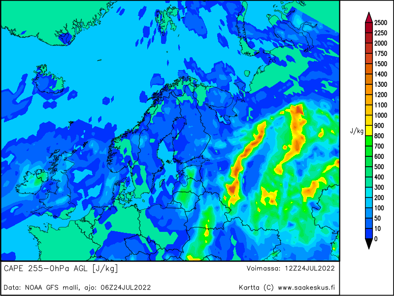 Nordic countries MUCAPE 255-0hPa AGL, +6h