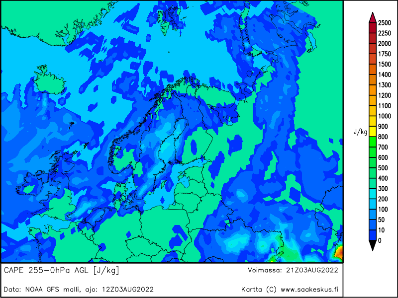 Nordic countries MUCAPE 255-0hPa AGL, +9h