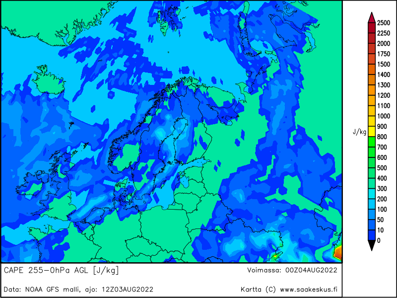 Nordic countries MUCAPE 255-0hPa AGL, +12h