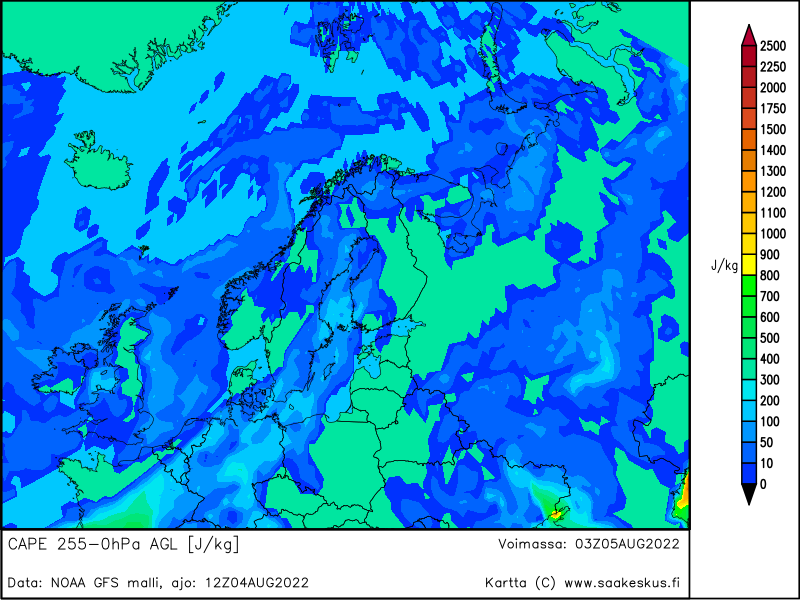 Nordic countries MUCAPE 255-0hPa AGL, +15h