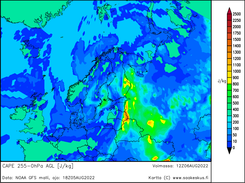 Nordic countries MUCAPE 255-0hPa AGL, +18h