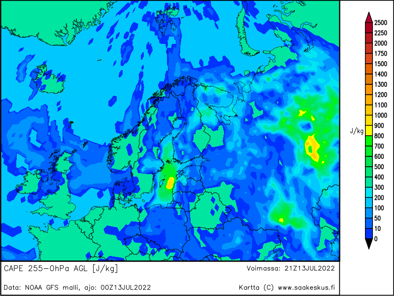 Nordic countries MUCAPE 255-0hPa AGL, +21h