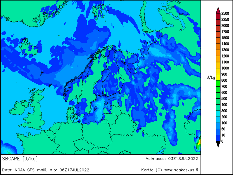 Nordic countries SBCAPE, +21h