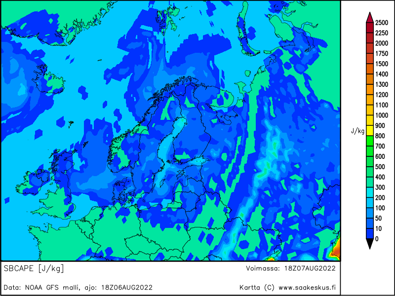 Nordic countries SBCAPE, +24h
